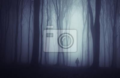 upiorny ciemny las z tajemniczy mężczyzna chodzenie na drodze