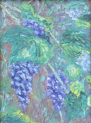 Naklejka uprawy winogron, obraz olejny