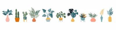 Naklejka Urban jungle, trendy home decor with plants, cacti, tropical leaves in stylish planters and pots. Vector illustration