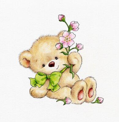 Naklejka Uroczy miś z kwiatami