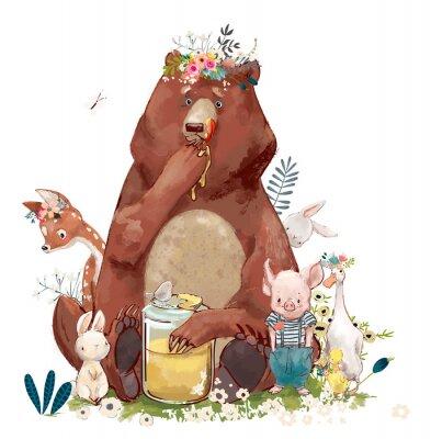Naklejka urodziny słodkie zwierzęta - niedźwiedź i inne