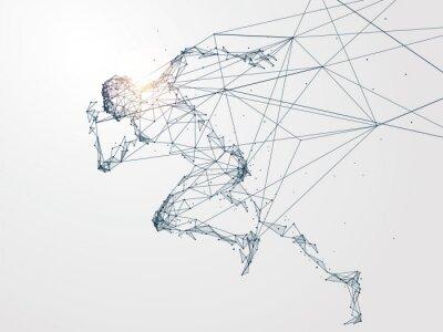 Naklejka Uruchamianie człowieka, połączenie sieciowe przekształcone, ilustracji wektorowych.