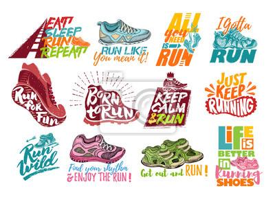 Naklejka Uruchom napis na buty do biegania trampki wektor lub trenerów z znaków tekstu na typografia ilustracja zestaw napisy biegaczy uruchomić dla zabawy na białym tle