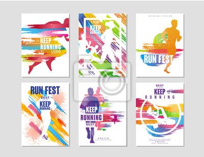Naklejka Uruchomić fest plakaty zestaw, sport i konkurencja koncepcja, bieganie maraton, kolorowy element projektu karty, baner, drukowanie, odznaka wektor Ilustracje