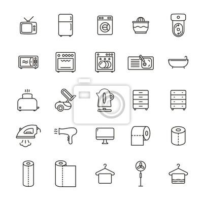 Urządzenia domowe Minimalna linia płaskiego paska Ikona paska Piktogram Zestaw ilustracji symboli Zestaw kolekcji