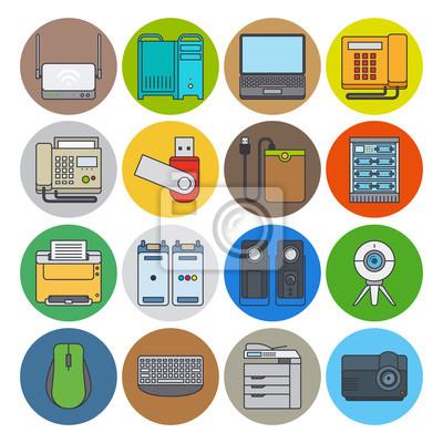 Urządzenia elektroniczne ikony płaskim linii. Kamera internetowa i laptop, projektor i drukarek wektorowe ikony