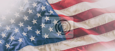 Naklejka USA flag. American flag. American flag blowing in the wind