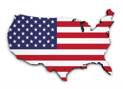 Naklejka USA Flag Map 3D Shape