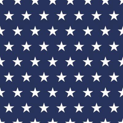 Naklejka USA flag seamless pattern. White stars on a blue background. Memorial day