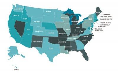 Naklejka USA map. American map. United States of America map in flat