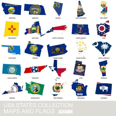 Naklejka USA state collection, maps and flags