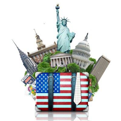 Naklejka USA, Zabytki USA, walizkę i Nowy Jork