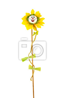 Uśmiecha słonecznik żółty i czerwony