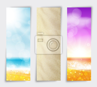 Naklejka Ustaw Banner Letnia plaża