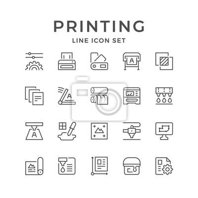 Naklejka Ustaw ikony linii wydruku