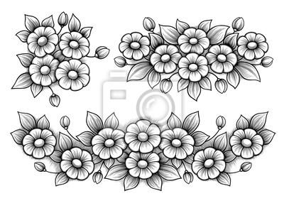 Ustaw kwiaty stokrotki pęczek Vintage Victorian ramki kwiatu grawerowane ozdoba Wektor tatuaż czarno-biały granicy monogram liści przewijania retro wzór dekoracyjny filigran kaligraficzne tarczy herbo