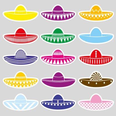 Naklejka ustawić Meksyk wariacje sombrero naklejki eps10