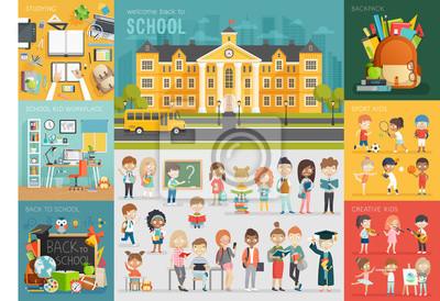 Naklejka ustawić motyw szkole. Powrót do szkoły, pracy, dzieci w szkole i innych elementów.