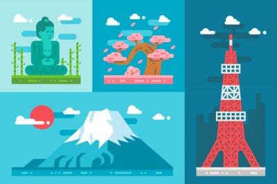 Naklejka ustawić płaska Japonia punktów orientacyjnych