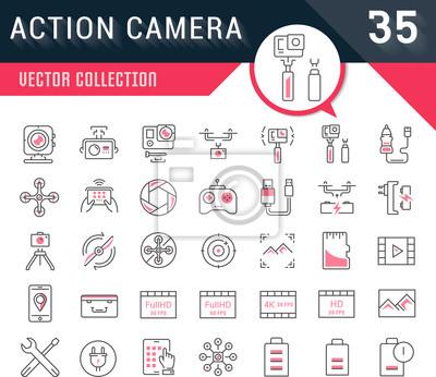Ustawić Wektor I Linia Ikony Akcji Aparat Fotograficzny