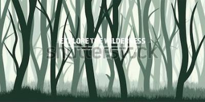 Naklejka Ustawione drzewa. Dziki sosnowy las, tło natura. Wood.Vector ilustracji.Banner. Ciemnozielone drzewo. Krajobraz.Trawy, łąki.