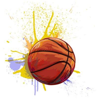 Naklejka Utworzone przez profesjonalnego Koszykówka Artist. Ta ilustracja jest tworzony przez tabletby Wacom za pomocą szczotki grunge i tekstury