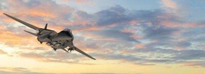 Naklejka Uzbrojonych wojskowych myśliwców jet w locie na tle nieba