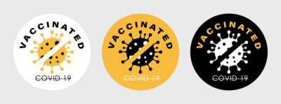 Vaccinated Stamps. Covid-19 vaccine. Flat vector logo.
