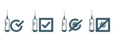 Vaccine covid-19 use icon. Flat vector illustration.