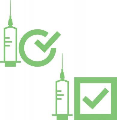 Vaccine covid-19 use icon. Symbol in green color illustration.