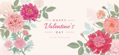 Valentine's day background with beautiful flowers. Vector illustration