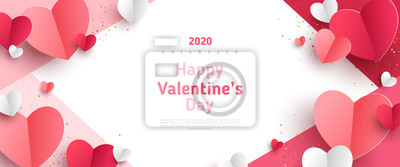 Naklejka Valentine's day concept frame. Vector illustration. 3d red and pink paper hearts on geometric background. Cute love sale banner or greeting card