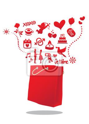 Valentine torba na zakupy Ilustracja wektora