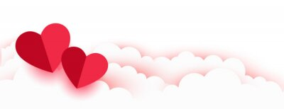 Naklejka valentines day romantic paper hearts and clouds banner
