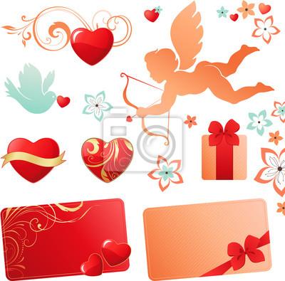 Valentines set with Cupid