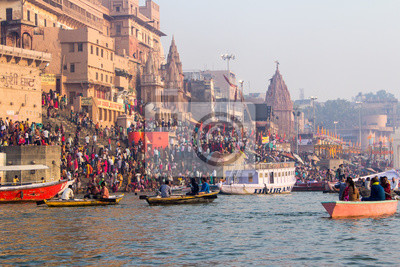 Naklejka Varanasi Ghats, Diwali Festival, Ganges River and Boats, Uttar Pradesh, Indie