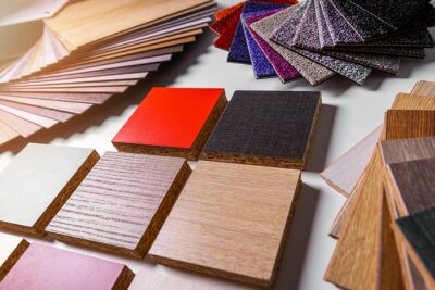variety of furniture and flooring material design samples