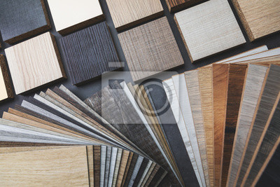 Naklejka variety of wood texture furniture and flooring material samples for interior design