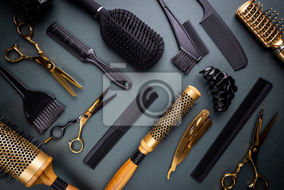 Naklejka Various hair dresser and cut tools on black background with copy space