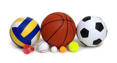 Various sport equipments isolated on white