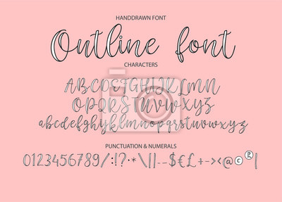 Vector alphabet typeface. Hand drawn modern typeface. Font. Uppercase latin letters half painted in ink. Decorative type signs.