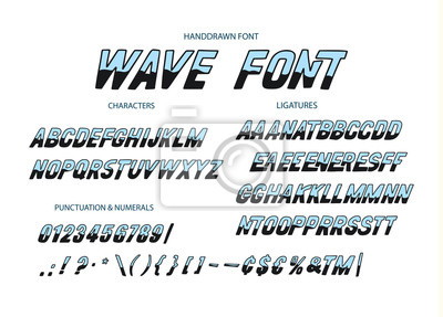 Vector alphabet typeface. Hand drawn modern typeface. Wave font. Uppercase latin letters half painted in ink. Decorative type signs.