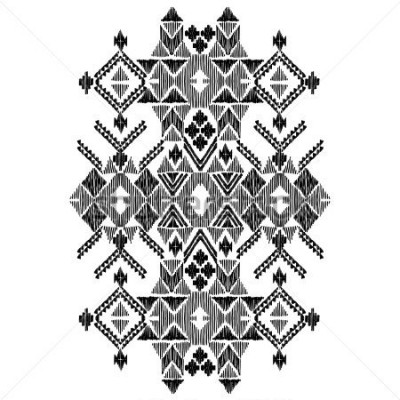 Naklejka Vector black and white decorative ethnic pattern. American indian motifs. Hand drawn background, aztec tribal ornament. Print for fashion, textile, paper and cover. Line illustration
