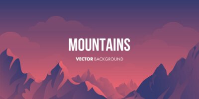 Vector cartoon landscape with silhouettes of mountains and clouds
