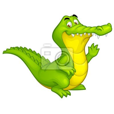 Vector cartoon szczęśliwy krokodyl zabawa charakter