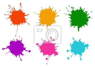 Naklejka Vector Colorful paint splatters.Paint splashes set.Vector illustration design.