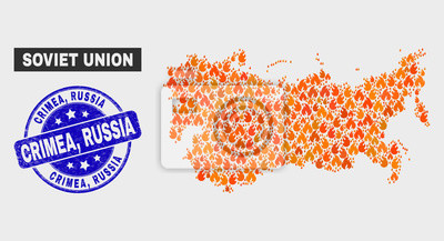 Vector composition of wildfire Soviet Union map and blue rounded grunge Crimea, Russia seal stamp. Fiery Soviet Union map mosaic of wildfire icons. Vector combination for insurance services,