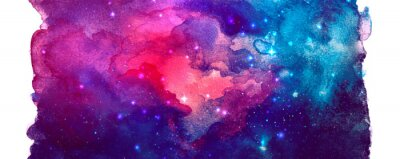 Naklejka Vector cosmic illustration. Beautiful colorful space background. Watercolor Cosmos