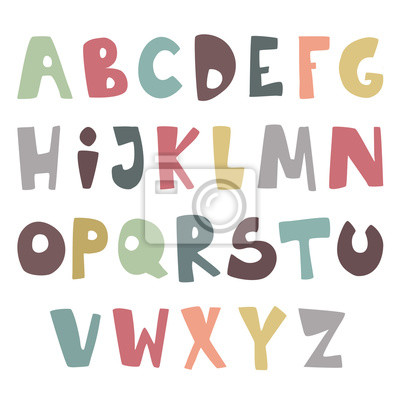 Vector cute childish simple latin font. Colorful funky english alphabet