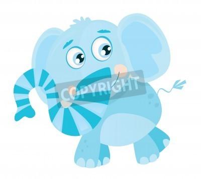 Naklejka Vector Elephant. Zabawna dżungli zwierząt. Ilustracja wektora.